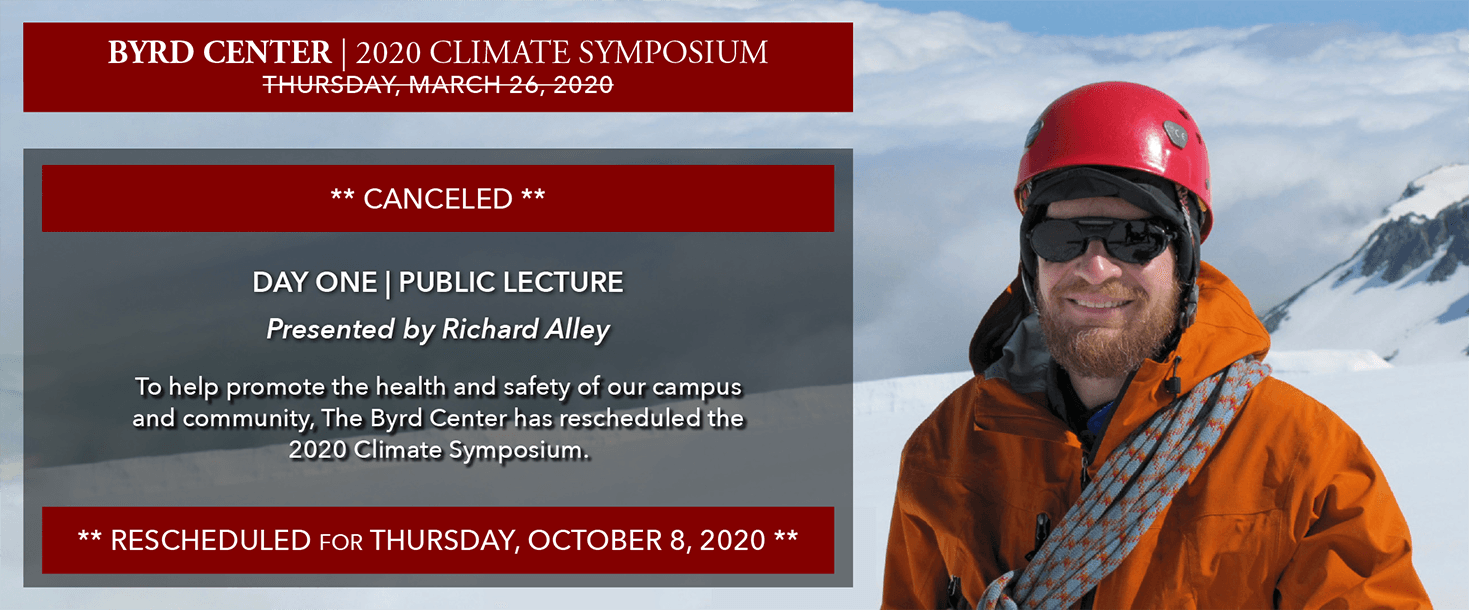 2020 Climate Symposium | Day One: Public Lecture rescheduled for Thursday, October 8, 2020