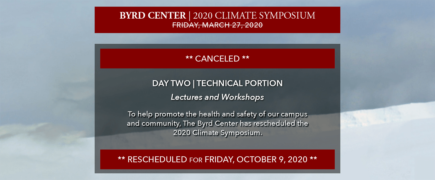 2020 Climate Symposium | Day Two: Technical Portion rescheduled for Friday, October 9, 2020