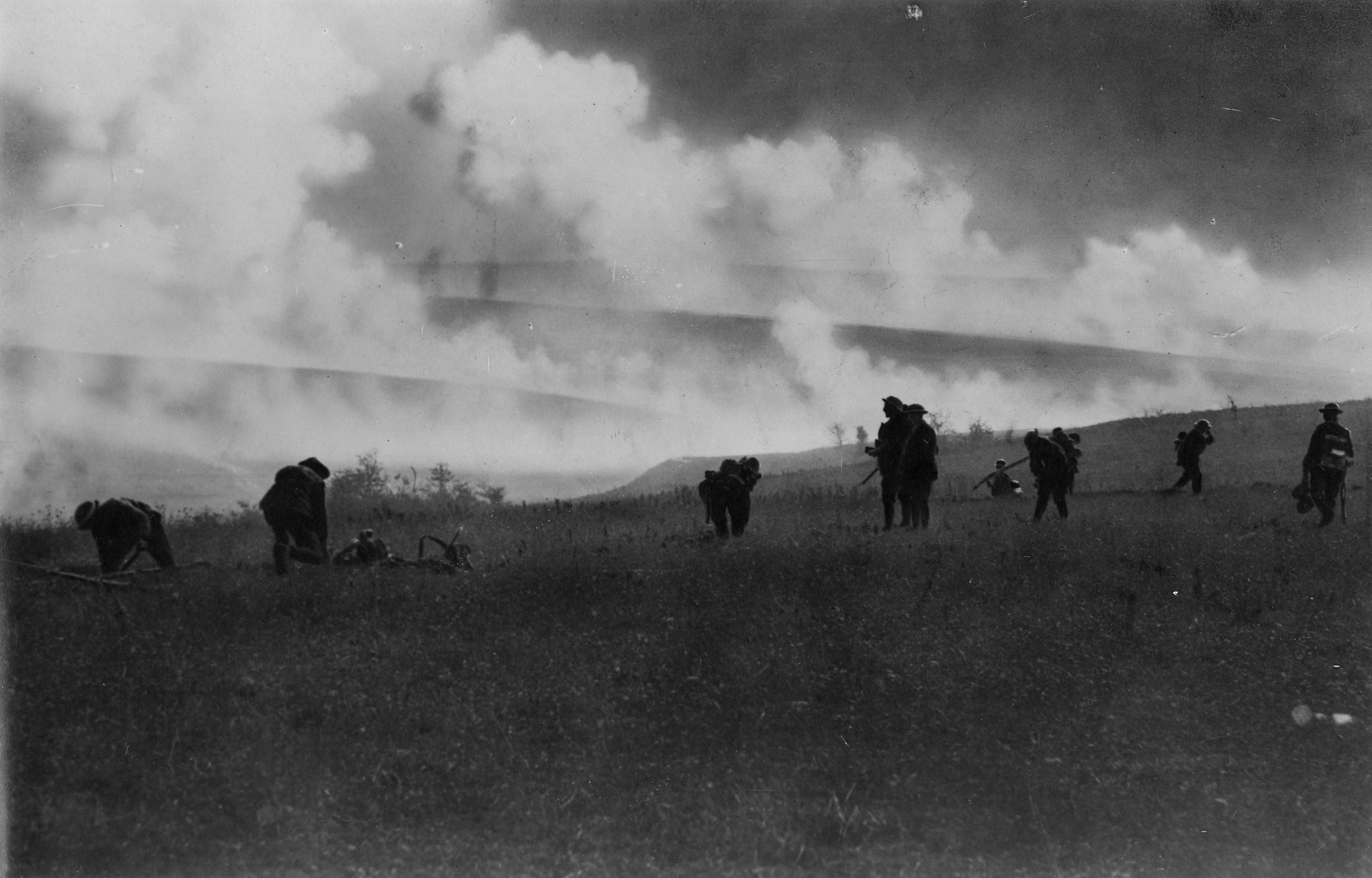 The 45th Battalion digging in under a smoke barrage near Ascension Farm on the second objective in the attack made by the 1st and 4th Australian Divisions and British Divisions upon the old British trench lines near Hargicourt and the outpost line of the Hindenburg system.
