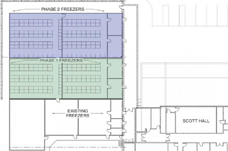 Blueprint for the ice core freezer renovation.