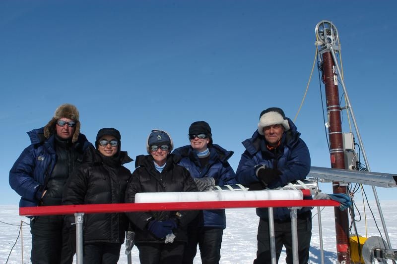 Field team with ice core. Greenland, 2007.