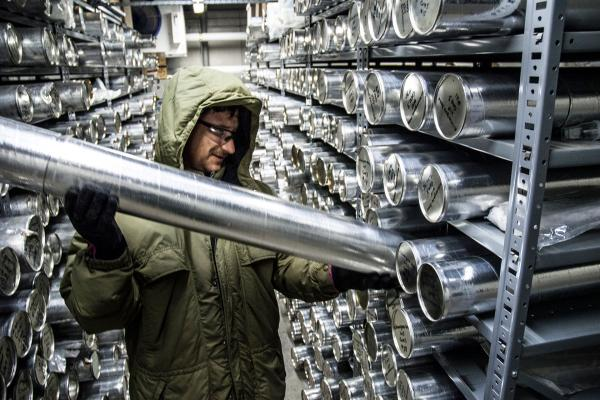 A Byrd Center researcher pulls an ice core for analysis.