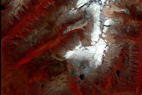 Satellite view of the llaca glacier