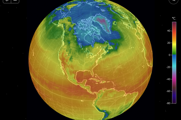 Image of Fluid Earth Viewer showing temperatures for the planet