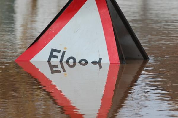 """Flood"" sign in water"